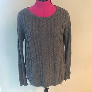 AEO Grey Cable Knit Scoop Neck Sweater